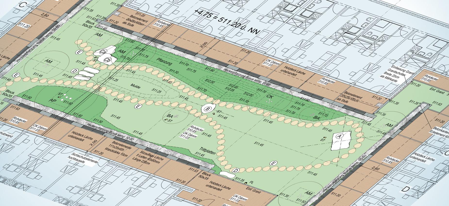 Bauzeichnung für die Gestaltung des Dachgartens und der Außenanlagen von atelier8 Barbara Jurk für das Projekt studiosus Studentenapartments München