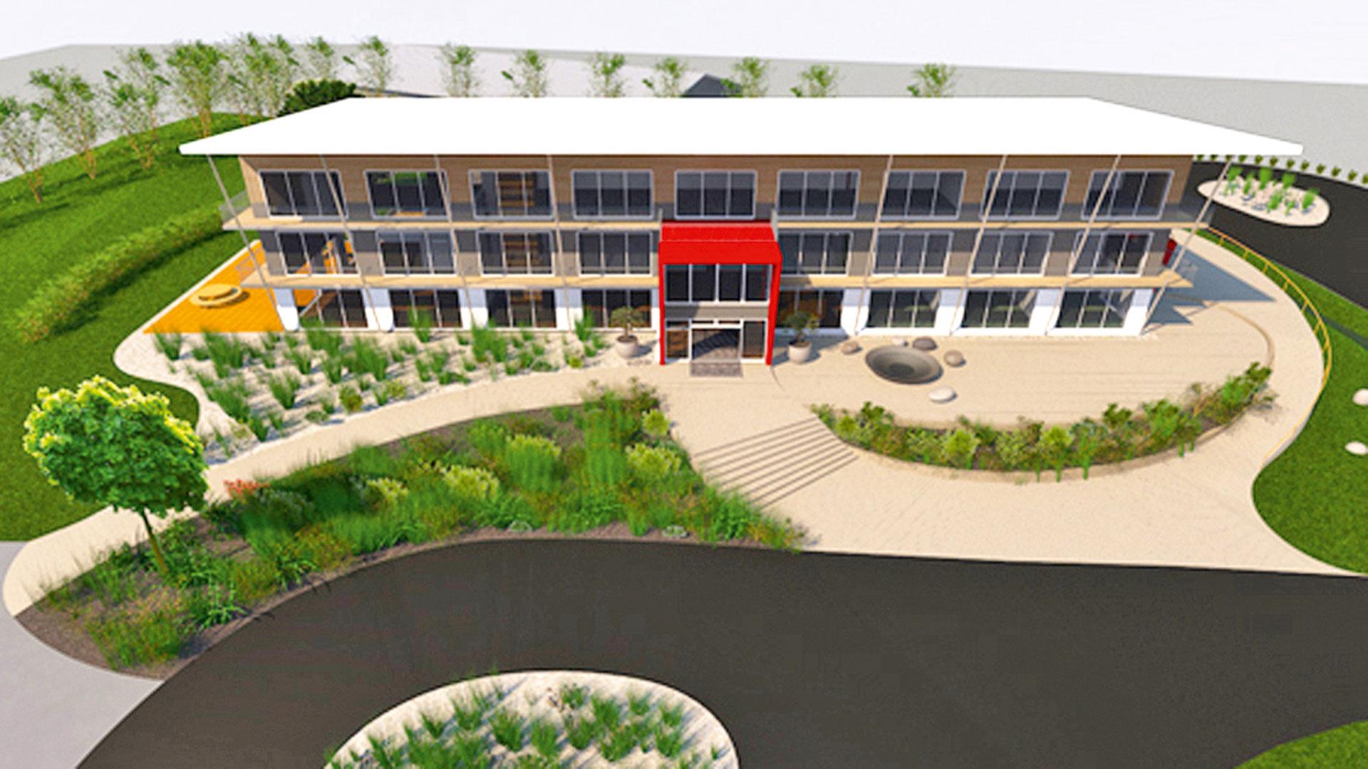 3D-Modell mit Außenansicht des Firmengebäudes und Feng Shui Gartengestaltung geplant durch das Architekturbüro atelier8 in Frankfurt