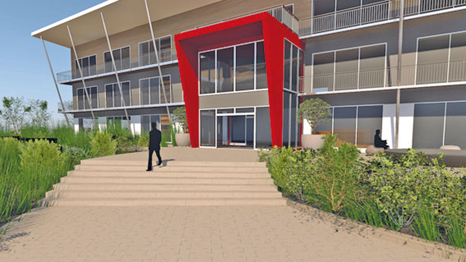 3D-Modell mit Außenansicht des Eingangsbereichs eines Firmengebäudes geplant durch das Architekturbüro atelier8 in Frankfurt