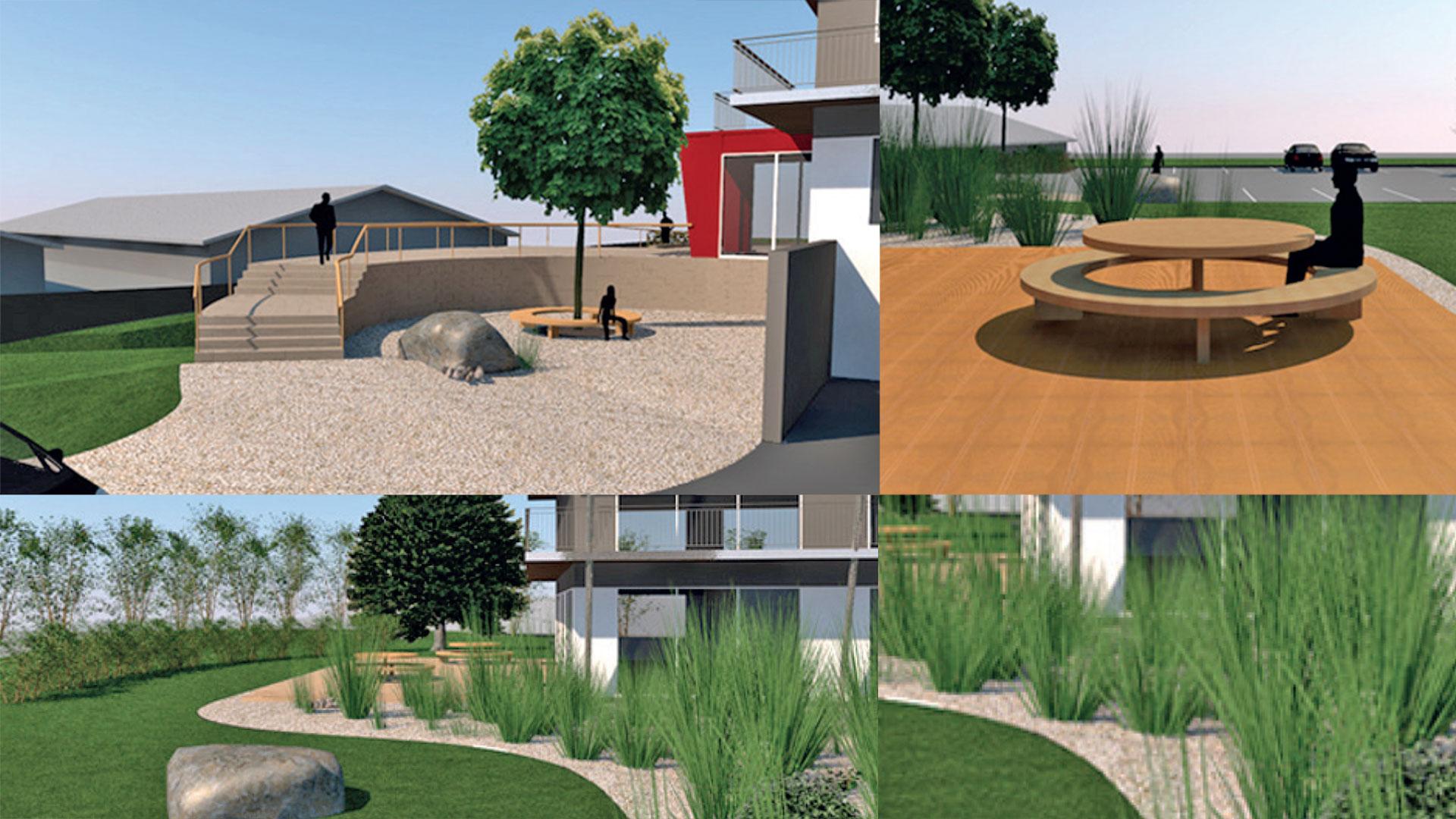 3D-Grafiken mit Detailelementen der Feng Shui Gartengestaltung mit Treppe, Holzterrasse mit Sitzrondell, Beet- und Wiesenanlagen sowie Bepflanzung – geplant durch das Architekturbüro atelier8 in Frankfurt