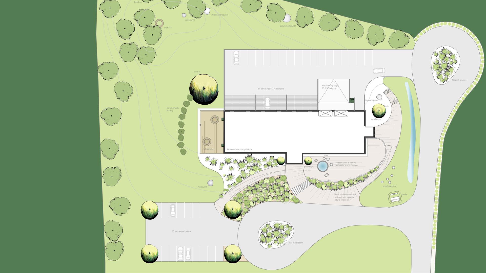 3D-Grafik mit Lageplan des Firmengebäudes und Feng Shui Gartengestaltung geplant durch das Architekturbüro atelier8 in Frankfurt