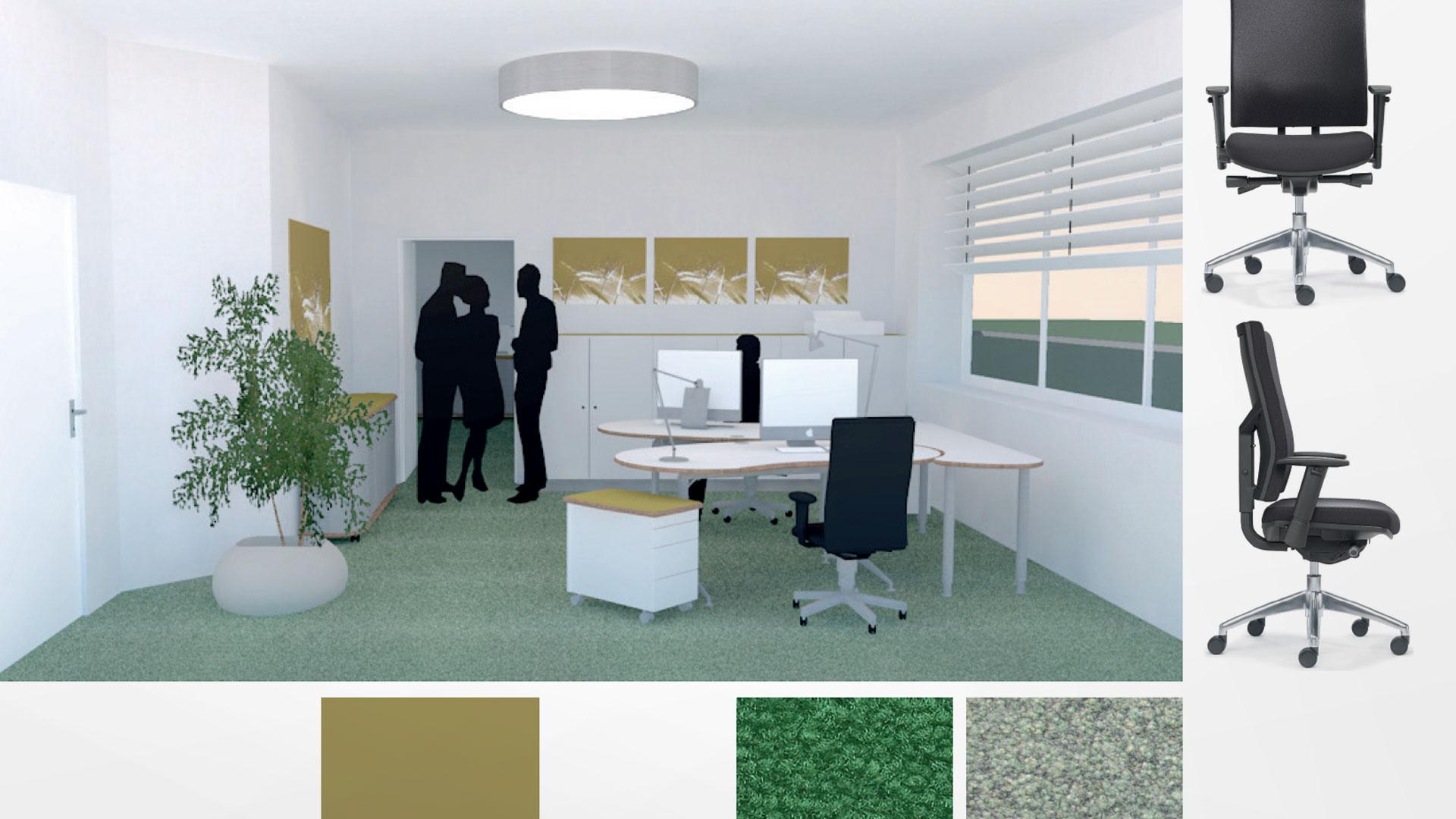 3D-Grafik eines Büroraumes mit vorgesehener Inneneinrichtung sowie Material- und Farbauswahl geplant durch Innenarchitektin Barbara Jurk von atelier8 in Frankfurt
