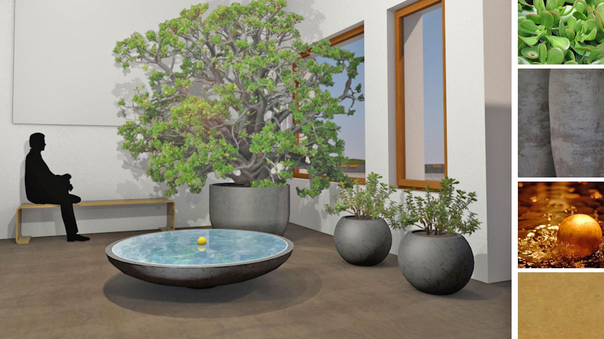 3D-Grafik Innenbereich mit Wasserspiel und Pflanzen sowie Farb- und Materialauswahl durch das Architekturbüro atelier8 in Frankfurt