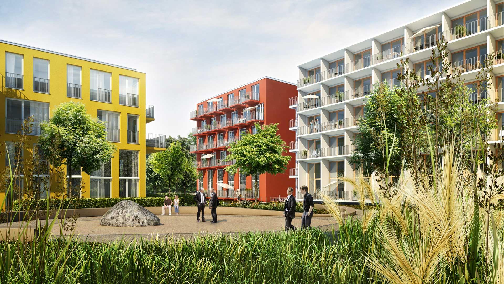 Gartenansicht des Apartmentkomplexes studiomuc mit harmonischer Fassadengestaltung mit weißen, gelben und roten Gebäudeteilen vom Architekturbüro atelier8 in Frankfurt