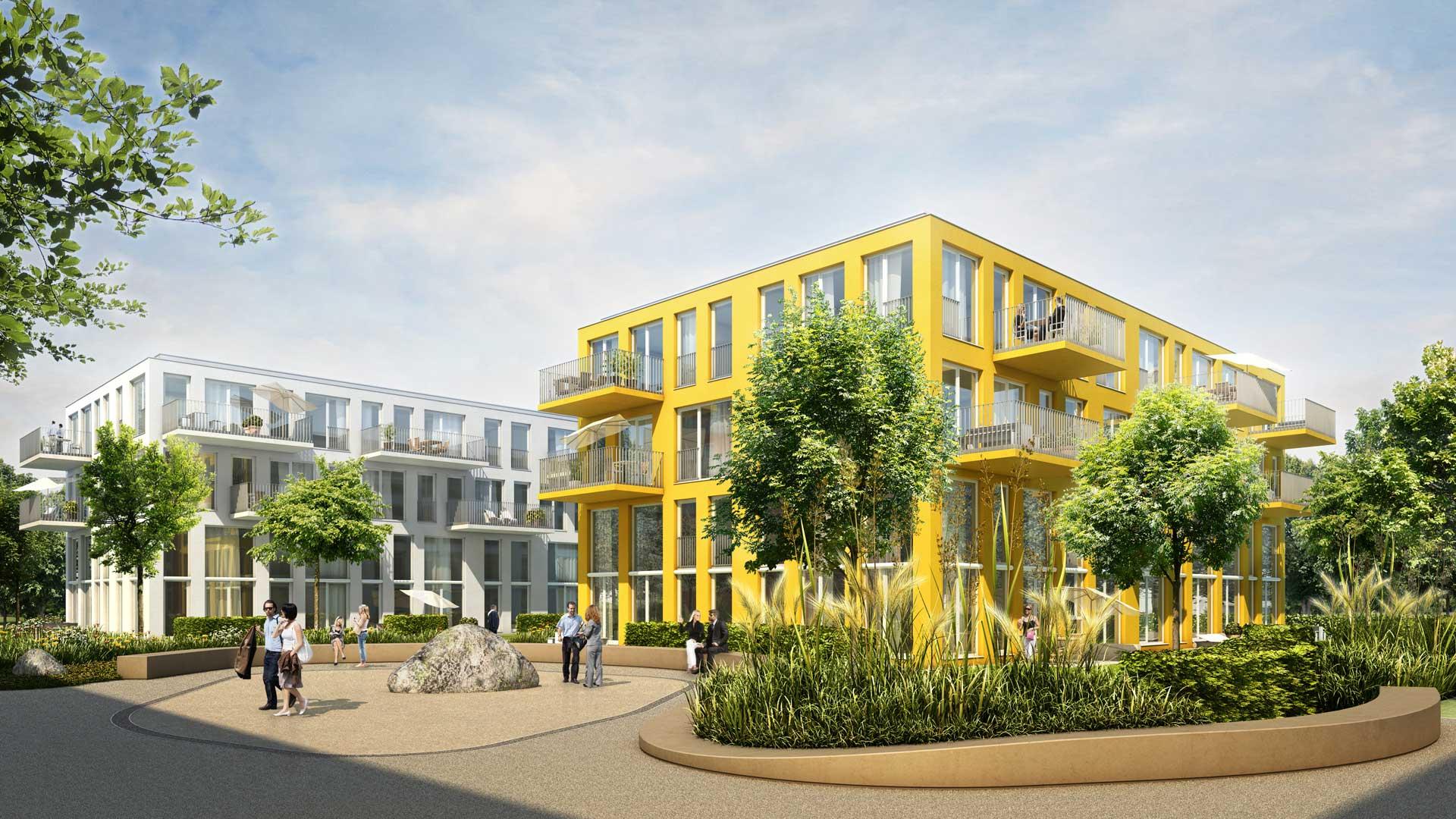 Gartenansicht des Apartmenthauses studiomuc mit harmonischer Fassadengestaltung und Herzsteinsetzung vom Architekturbüro atelier8 in Frankfurt