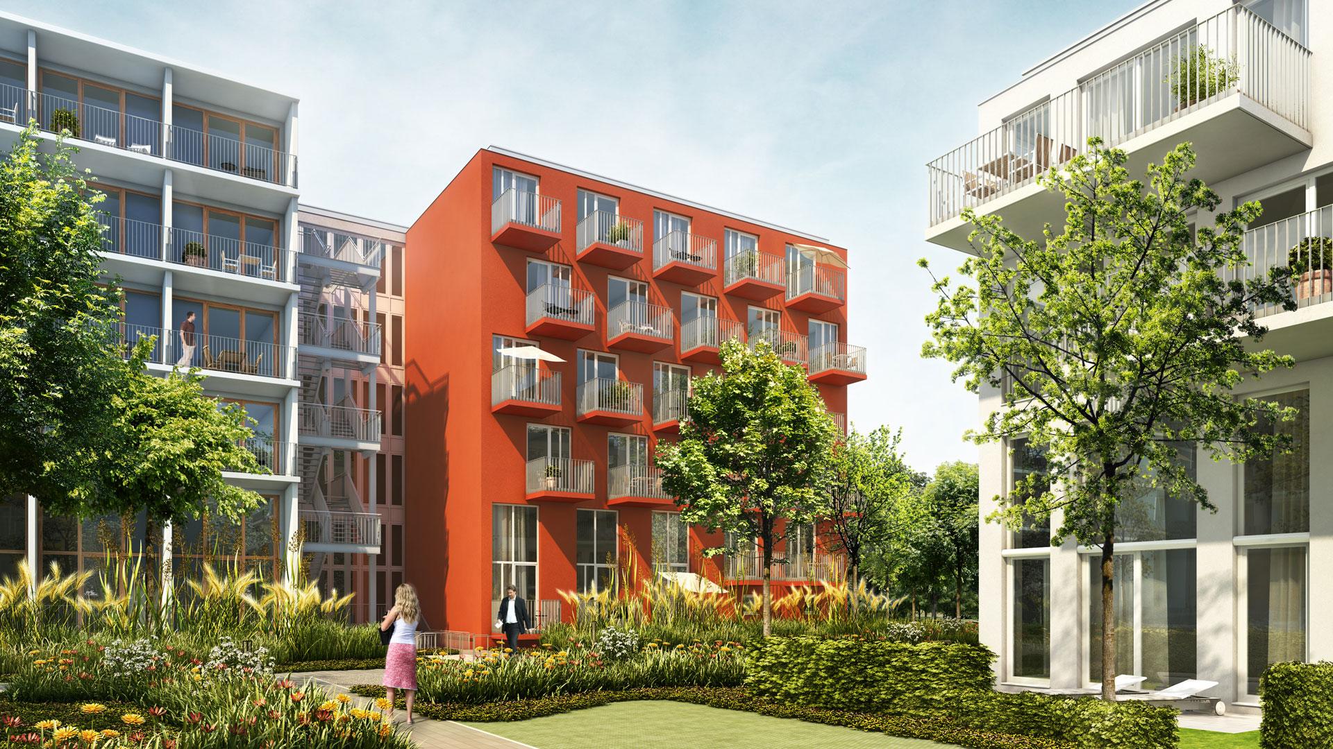Gartenansicht des Apartmenthauses studiomuc mit harmonischer Fassadengestaltung vom Architekturbüro atelier8 in Frankfurt