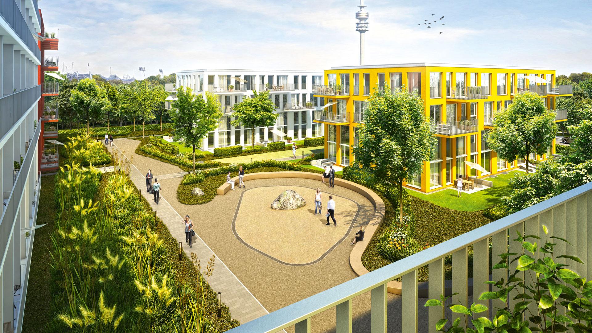 Grafik Neubauprojekt studiomuc Serviceapartments in München-Schwabing mit Gebäudekomplexen und Feng Shui Gartengestaltung durch atelier8 Barbara Jurk