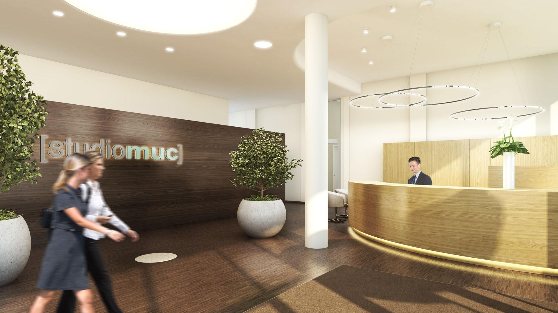 Eingangsbereich des studiomuc Apartmenthauses in München-Schwabing mit Gestaltung des Foyers mit Empfangstresen und Wandvertäfelung aus Holz durch Innenarchitektin Barbara Jurk vom Architekturbüro atelier8